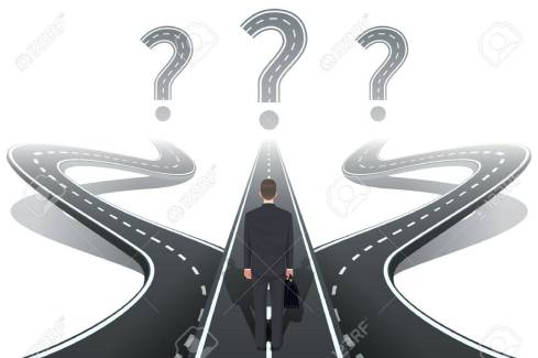 man on road with 3 directions