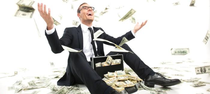 wealth man tossing dollars